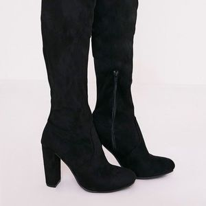 PrettyLittleThing Shoes - prettylittlething thigh high black boots size8